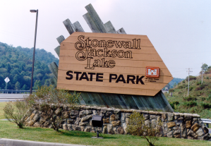 Stonewall jackson state park sign for Wv dnr fishing license